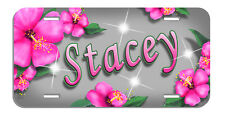 Hot Pink Hibiscus Flowers License Plate Personalize Gifts Ladies Any Name-Text