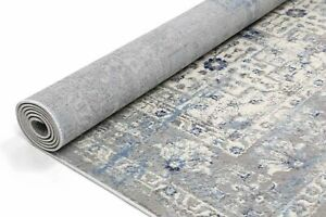 Tadley Grey Blue Medallion Distress Transitional Runner 80x300cm *FREE DELIVERY*