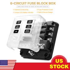 6 Way Blade Fuse Box Block Holder Standard ATC/ATO LED Indicator For Car Marine