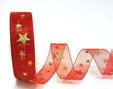 25mm x 2m Bertie's Bows Gold Glitter Star Print on Red Sheer Organza Ribbon.