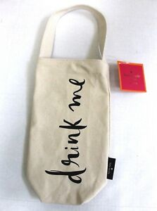 "kate spade New York Canvas ""drink me"" Wine Tote Bag Off-White"