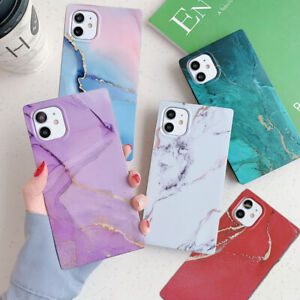For iPhone 11 Pro Max XS XR SE2 8 7 Plus Square Matte Marble IMD Soft Case Cover