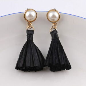 Unique Raffia Drop Boutique Stud Earrings for Girls and Ladies Statement Jewelry