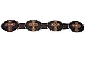 NEw TONY LAMA silver brown leather belt 30 unisex western cross heavy cowboy