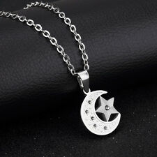 Moon and Star CZ Silver Surgical Stainless Steel Pendant with Necklace Gift