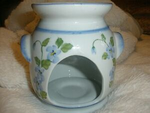 Andrea by Sadak Tart/Candle Burner , White with Blue Flowers Hand Painted.