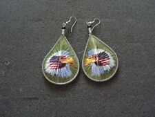 NEW PAIR OF THREAD EARRING WITH AMERICAN EAGLE PICTURE