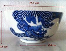 "Chine Ancienne 18e siècle Important Bol Décor Blanc Bleu ""Dragon & perle Sacrée"""