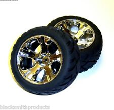 4900-0013 1/10 Scale Off Road Monster Truck Wheels and Tyres x 2 Chrome