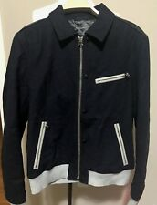Lanvin Men's Navy Wool Motorcycle Jacket with Leather Patch