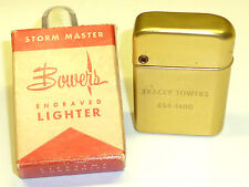 Bowers Storm Master Aluminium Lighter W Windshield-Neuf dans sa boîte - 1955-Made in U.S.A.