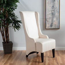 French vintage inspired tall wingback light beige tufted for High back fabric dining room chairs