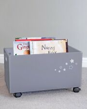 Children's Wooden Toy Storage Box White with Wheels Star Design Grey