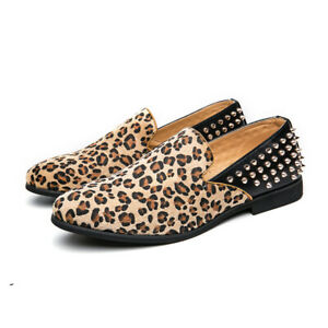 Mens Leopard Punk Rivet Pointed toe Slip on Loafers Comfort Outdoor Casual Shoes