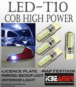 4pc T10 COB LED 12V 3rd Gen. White Direct Replace for License Plate Bulbs F149