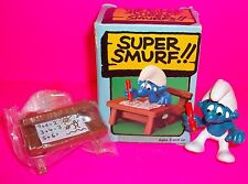 Vtg Smurf Peyo Schleich RARE Student SMURF Wood DESK Book Action Figure in BOX!