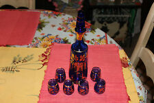 Vintage Venetian Bohemian Cobalt Blue Decanter W/6 Glasses-Gold Floral Design