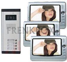 kit videocitofono per condominio trifamiliare: 3 monitor e Telecamera 3 tasti