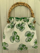 Vintage Bamboo Handle Purse Bag Frog Pattern EUC Green and White