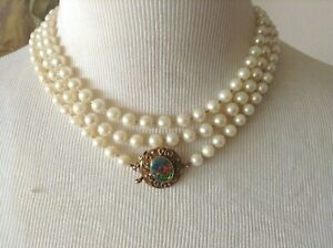Vtg Cultured Pearl 6mm Knotted Single Strand Necklace w/14K YG+Opal Clasp 54""