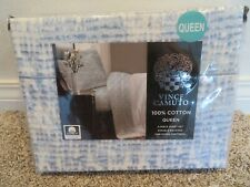 New Vince Camuto 4 Piece Queen Sheet Set 100% Cotton Double Brushed Blue White
