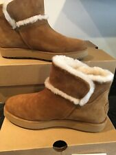 UGG CLASSIC MINI SPILL SEAM CHESTNUT SUEDE SHEARLING WOMENS BOOTS SIZE US 8 NEW