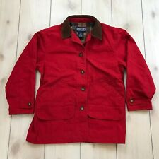 Lands End Chore Coat Women's Medium Red Barn Jacket Button Front Plaid Lined
