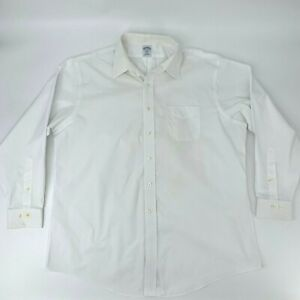 Brooks Brothers Slim Fit Shirt Size 18- 4/5 White Non-Iron Button Up Long Sleeve