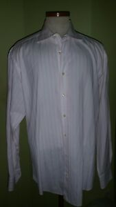 Etro Dress Shirt Sz 43 Pink and White Striped Excellent Condition!