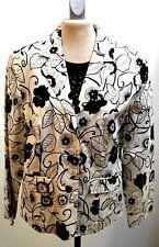 Jacke/Blazer-Damenr 40 creme/weiß mit Blumendruck marine, Baumwolle mit Stretch