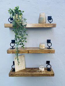 Set Of 3 Rustic Floating Shelves Wooden Handmade Bespoke Wood with brackets