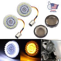 1157 Bullet White/Amber LED Turn Signal Insert Bulb+ Cover For Motorcycle Harley