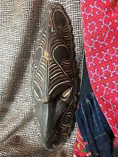 Old Papua New Guinea Sepik River Carved Wooden Mask …with cowrie shell eyes