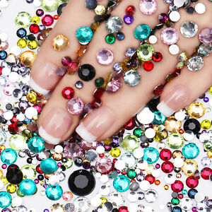 2000Pcs Rhinestone Nail Decoration Colorful Crystal Mixed Size BORN PRETTY Tips