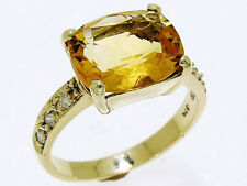 R098 Genuine 9K Solid Gold Natural Large Citrine & Diamond Cocktail Ring size O