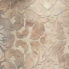Brown, Beige & Taupe Formal Damask Wallpaper DS29735