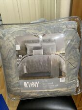 Vcny Home Jacquard 10 pc. Comforter Set CalKing Silver new with tag. Msrp $360.