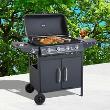 Outsunny Gas BBQ Grill 4 + 1 Stainless Steel Burner Garden Yard Barbecue Cooker