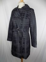Mossimo Black & Gray L/S Lined Button Front Jacket Coat W/ Belt Women's Sz Small