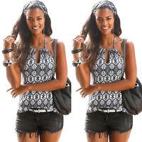 Women Sleeveless Boho Lace Up Vest Tank Top Summer Beach Backless Blouse T Shirt
