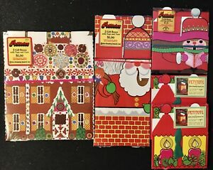 Vintage Petitotes Christmas House Gift Boxes w/Tags & Yarn; 10 Boxes Total NEW!