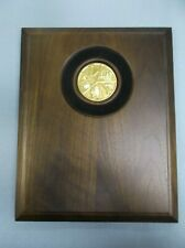 highly detailed stamped metal arts and crafts insert plaque 8x10 solid walnut