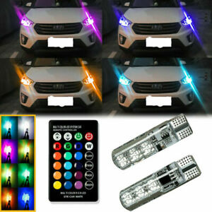 Multi-Color RGB LED Bulbs w/RF Remote Control For Car Parking Lights 168 193 T10