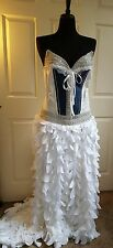 DENIM & DIAMONDS SILVER CORSET WHITE  PETAL DROP WAIST BRIDAL WEDDING BALLGOWN