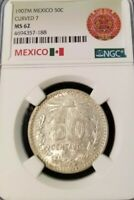 1907 MEXICO SILVER 50 CENTAVOS CURVED 7 NGC MS 62 HIGH GRADE SCARCE VARIETY !!!