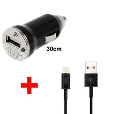 Black 2 IN 1 CAR CHARGER + USB DATA CABLE FOR Apple iPhone 5/5S/6 ipod touch 5