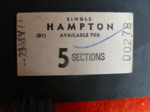 VINTAGE  VICTORIA  TRAIN TICKET  5 SECTIONS  SINGLE HAMILTON