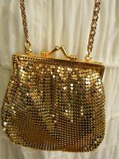 Fabulous Old Whiting and Davis Gold Metal Mesh Cross Body Evening Bag Purse