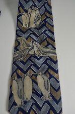 Endangered Species Aquarium Penguin Zig Zag Print Neck Tie 100% Silk USA Novelty