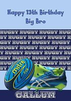 Personalised birthday card rugby ball large A5 size son dad grandson husband c